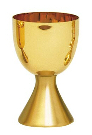 "Gold plated Chalice 5-1/2"" scale paten."