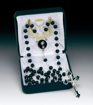 rosary black glass