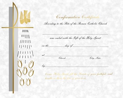 Certificate of Confirmation – Queen Catholic Supply