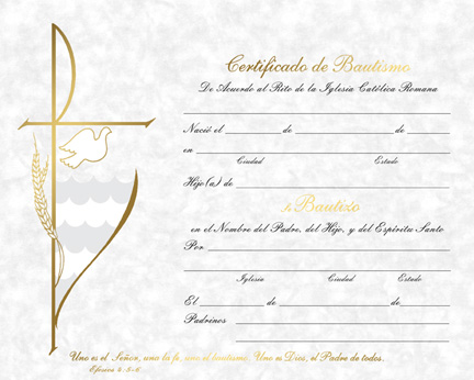 certificate of baptism spanish queen catholic supply