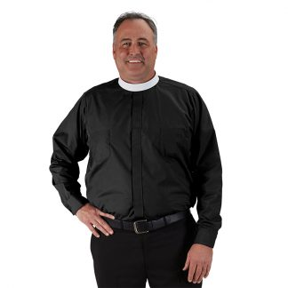 #242 R.J. Toomey Big & Tall Neckband Long Sleeve Clergy Shirt
